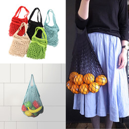 Wholesale vegetable mesh - Mesh Net Shopping Bags Fruits Vegetable Portable Foldable Cotton String Reusable Turtle Bags Tote Pouch for Sundries Juice Storage Handbag