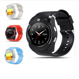 Wholesale Smart Card Hd - V8 Smart Watch Bluetooth Watch Clock With Sim TF Card Slot Suitable For IOS Android Phone Smartwatch IPS HD Full Circle Display MTK6261D