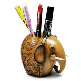 Carving Elephant Portamatite Fashion Desk Decorazione Porta penne Gun Metallo Grigio Pencil Guitar Theme Desktop Supply Organizer Desk Organizer da chiavi sorridono fornitori