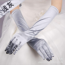Wholesale long satin gloves black - Simple Satin Full Finger Bridal gloves For Wedding Wrist Length Sexy Long Women Formal Party Lady Wear gloves Free Shipping