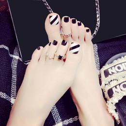 24pcs 3d Black Toes Acabado Uñas Falsas Francés Bling Dedo Cubierta Completa Nail Art Tips