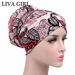 Wholesale Flower Head Scarf - Liva girl New Pastoral Style Muslim Hats Women Laides Flowers Floral Printing Beanies Female Head Scarf Caps FS0363