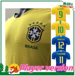 Wholesale player version - 2018 2019 Player version world cup Soccer Jersey DAVID LUIZ MARCELO PAULINHO COUTINHO G.JESUS Paulinho WILLIAN 18 19 men Football shirt