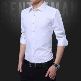 Wholesale red elegant dress long xs - Pure Color Formal Men's Long Sleeve Shirts Slim Fit Male Dress Shirt Multi Color Choice Fashion Comfort Elegant Tops Men