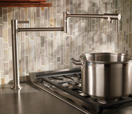 Cepillo de salida online-Free ship deck Mounted Brass solo frío Water Pot Filler grifo grifo Double Joint Spout níquel cepillado Kitchen Faucet
