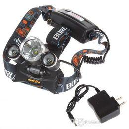 Wholesale 3x zoom - Headlamp Boruit 5000 Lumen Super Bright 3X CREE XML T6 LED Headlamp Headlight 18650 LED Head Light Lamp + Charger +Car Charger