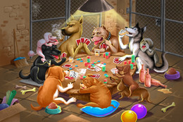 Wholesale Funny Pictures Cartoon - Dogs Playing Poker cartoon Funny art silk Posters and Prints Wall Picture for Living Room home decor