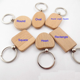 Wholesale Wood Rings Wholesale - Epackfree 30pcs customize DIY Blank Wooden Key Chain Rectangle Heart Round Ellipse Carving Key ring Wood Key Chain Ring