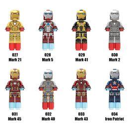 Wholesale Iron Man Plastic - Super Heroes Avengers Series Minifig Mix Lot Mark Avengers Iron Man Figure XINH027-034 Mini Building Blocks Figures