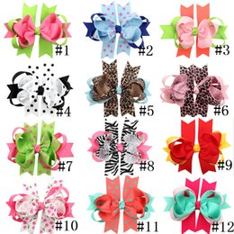"Wholesale Big Barrette Hair Clip - 12pcs lot Girls Large 6 Inch Hair Bows With Clips Boutique bow Headwear Children Kids 6"" Big Bows Hair Clip Baby Barrettes HC002"