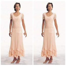 Wholesale ladies short formal dresses - Vintage 2018 Plus Size Mother of the Bride Dresses Short Sleeves Chiffon Custom Tea Length Orange Custom Ladies Evening Gowns Formal Dress