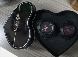 2019 Горячие Продажи Пара Новый G Стиль Ударные Часы С Любителями Формы Сердца Коллекция Box Пара Спортивные Наручные Часы LED Аналоговый для Новорожденных Женщин от