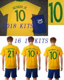 Wholesale Brazil Football Kits - 2018 Brazil Home Football Uniform 16 17 Brasil Home Away Soccer Jersey Shorts NEYMAR JR G.JESUS MARCELO Soccer Kit Thai Quality Football Set