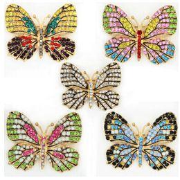 2019 bijoux en alliage papillon Bijoux de mode Coloré Strass Broche Papillon Alliage Émail Animal Broche Broche Vêtements Accessoires émail Papillon Broche promotion bijoux en alliage papillon