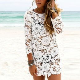 9a1bad8bb02e7 Mini White Sexy O Neck Lace Floral Crochet Hollow Out Beach Dress Tunic Women  Bikini Cover-ups Beachwear Female Swimsuit Cover Up