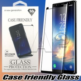 Wholesale Glass Protector Film - Case Friendly 3D Curved Tempered Glass For Samsung Galaxy S9 Note 8 S8 Plus note8 Small Version Screen Protector Film With Any Cases
