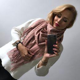 53eb0775d390  Lakysilk  Marque de luxe Cachemire Écharpe Femmes Dames Dot Imprimer Hiver  Chaud Doux Châles Pashmina Tassel Long Rose Écharpes Wraps C18110101 echarpe  ...