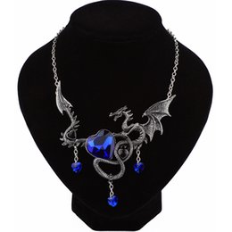 Wholesale Flying Heart Necklace - whole saleVintage Fly Dragon Necklace Red Blue Crystal Heart Chokers Necklace & Pendant for Women Men Statement Collar Jewelry Bijoux Gift