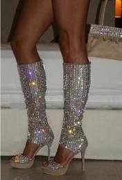 2019 chaussures Célébrité bling bling argent cristal bottes longues bout ouvert genou haut strass bottes plate-forme chaussures de mariage scintillantes chaussures pas cher