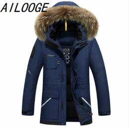 Wholesale Jackets Hoods For Men - AILOOGE Thick Down Jacket Men 2017 Winter With Hood Detached Warm Waterproof Big Raccoon Fur Collar For -30 degrees
