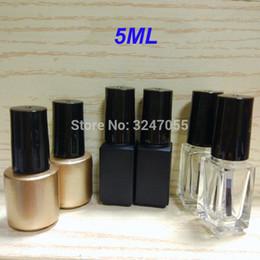 Spazzola per olio online-5ML 10pcs30pcs50pcs bottiglia vuota smalto per unghie, vetro chiodo olio contenitore riutilizzabile, vuoto nail art colla bottiglia con un coperchio pennello