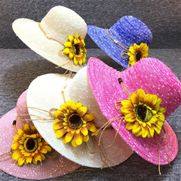 Wholesale plant dye - Flowers And Plants Straw Hat Large edge Outdoor Beach Cap Bardian Convenient Leisure Lash Holiday Travel 6 5bg jj