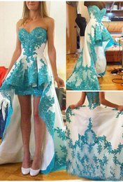 Wholesale Turquoise Satin Short Dresses - White and Turquoise High Low Prom Dresses 2017 A-Line Lace Applique Satin Short Front Long Back Sweetheart Formal Evening Party Gown