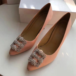 Wholesale Sexy Satin Shoes - Beautiful Lady Dress Shoes Rhinestone Design Women Pointed Toe Thin High Heels Satin Sexy Party Festival Wedding Shoes Women Pumps size35-41