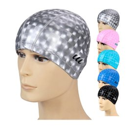 Wholesale Waterproof Spa Hats - H382 Free shipping spa cap waterproof PU coating ear hair large swimming cap hat for men and women A variety of optional