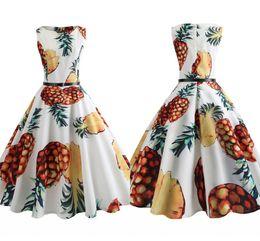 f261686fdbc5e8 Audrey Hepburn Dress Plus size 2018 Fashion Retro Vintage 1950s 60s Fruit  Printed Robe Femme Women Big Swing Summer Dresses FS3840