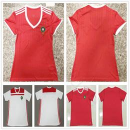Camisas de futebol vermelhas em branco on-line-2018 mulheres marrocos camisas de futebol 10 ZIYECH 5 BENATIA 8 EL AHMADI BOUTAIB BOUSSOUFA em branco personalizado casa homens vermelhos crianças juventude futebol Shrits