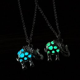 Wholesale Elephant Locket Pendant - Hollow Out Heart Necklace Locket Jewelry Fluorescent Light Glowing in Dark Elephant Cage Pendant Chains Fashion Jewelry Gift for Women