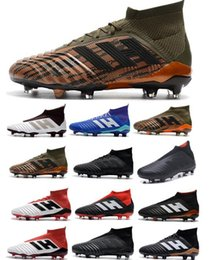 Wholesale top cleats - 2018 Predator 18 FG Men Soccer Cleats Chaussures De Football Boots Mens High Top Cristiano Ronaldo Soccer Shoes Neymar Football Shoes
