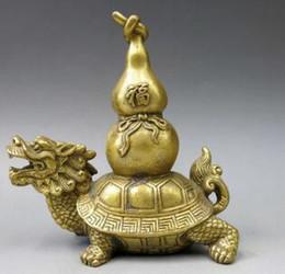 China Antique Collection Brass Baishou Tortoise Longevity Turtle Decoration