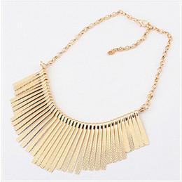Wholesale Silver Metal Bib Necklace - Sunshine Fashion jewelry Collar Necklace Metal Multilayer Chain Tassel Choker Bib False Gold silver necklace for lady Women