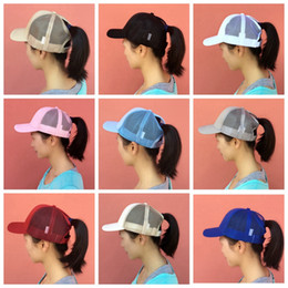 Wholesale Wool Hat Wholesale - cc hats women girls kids ponytail baseball hat Girl Softball hats back hole Pony Tail mesh cap sun hats