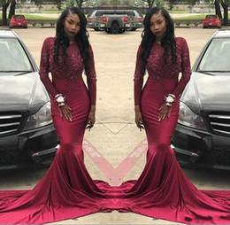 Abiti modesti economici per le donne online-Borgogna Prom Dresses 2019 Modest Mermaid abiti da sera africani del partito manica lunga abiti celebrità donne economici nero ragazza coppia giorno 2K18