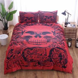country bedding sets regina Sconti Copripiumino stampato con teschi rossi Set 3 pezzi Copripiumino singolo con biancheria da letto queen size (senza lenzuola)