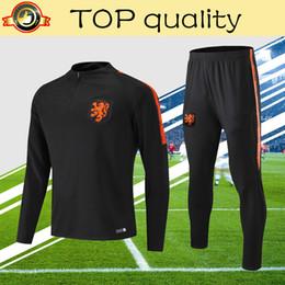 futbol de invierno Rebajas 2019 Holland soccer chándal niños hombre negro 18 19 manga larga de calidad superior Países Bajos 2019 PRE-MATCH fútbol pantalones de entrenamiento de invierno