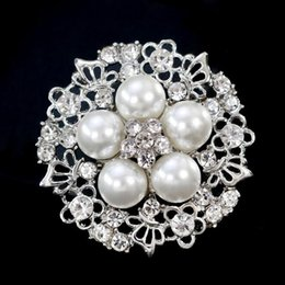 Wholesale Wholesale Flower Pins - Women Boutique Brooches Butterfly Flower Alloy Brooch Pearl Crystal Pins Lady Party Jewelry 12PCS Size 3.4*3.4cm Free Shipping