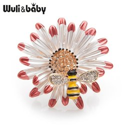 baby brooch flower Coupons - Wuli&baby Red Daisy Flower Yellow Bee Enamel Brooches Men Women's Alloy Rhinestone Insects Plants Party Banquet Brooch Gifts