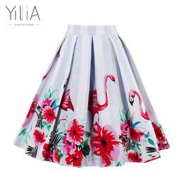 Wholesale Womens Pink Ball Gown - Yilia Skirt Womens Long Maxi Midi High Waist Flamingo Print 50s Vintage Skirts 20 Color Summer Autumn 2017 Elegant Sexy Bohemian