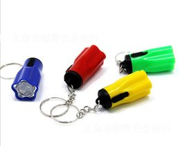 Wholesale Mini Gear Chain - Hiking Camping Outdoor Gear LED Mini Keychain super bright flashlight Torch Flower Shape Key Chain Ring Mixed Colors