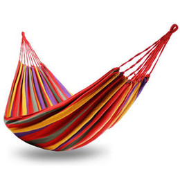 Blue 180 X 70cm Portable Outdoor Hammock Garden Sports Home Travel Camping Swing Canvas Stripe Hang Bed Hammock Red Camp Sleeping Gear Sports & Entertainment