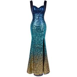 Angel-moda feminina Rainha Anne Decote Gradual Sequin Dividir Oco Sem Encosto Vestido de Noite Vestido de Festa Vestido de Baile 360 de Fornecedores de rainha de lantejoulas