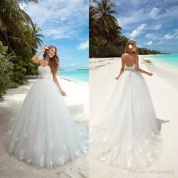 Vestido de bola modesto Vestidos de novia Romántico Cintura imperio Vestidos con apliques Vestidos de Noiva Backless Vestidos de novia de playa desde fabricantes