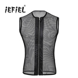 Wholesale Tank Top Lingerie - Wholesale-iEFiEL New 2017 Men Sexy Zipper Front Sleeveless See-through Leather Fishnet Hollow Out Muscle T-Shirt Tank Tops Sex Lingerie
