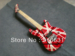 Wholesale White Guitar Black Hardware - Wholesale - 2012 New arrival black and white lines, color silver hardware 5150 Electric Guitar in stock