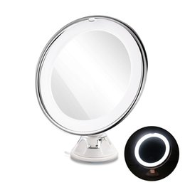 Wholesale led makeup mirror magnifying - LED Magnifying MIrrors 7X Magnifying Cosmetic Makeup Mirror With Power Locking Suction Cup Bright Diffused Light 360 Degree Rotating