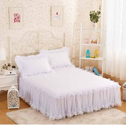 Wholesale White Princess Bedding - Snow White Lace Bed Skirt Pillow Cases 1  3pcs Wedding Princess Bedding Girls Bedspread Bed Sheet For Gifts King  Queen  Full Size